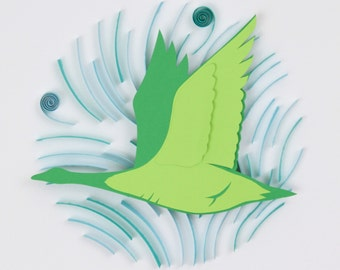 3D Layered Paper Quilling Green Goose