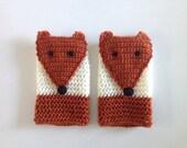 Fox Fingerless Gloves, Animal Hand Warmers, Crochet Wool Gloves