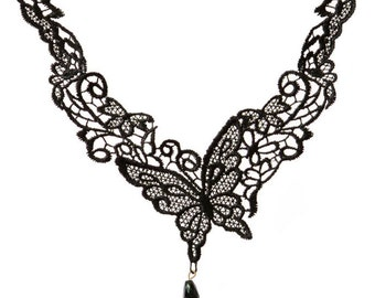 SALE Day Lace Necklace Gothic Black Butterfly Lace Choker Necklace for Women