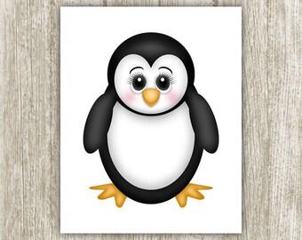 Penguin Wall Art, Nursery Wall Decor, Penguin Printable, Cute Penguin Art, Penguin Print, , Nursery Print, Nursery Art 8x10 Instant Download