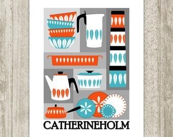 Scandinavian Kitchen Printable, Cathrineholm Retro Wall Decor, Print, Red-Orange Nordic Mid Century Art Kitchen Poster, Instant Download