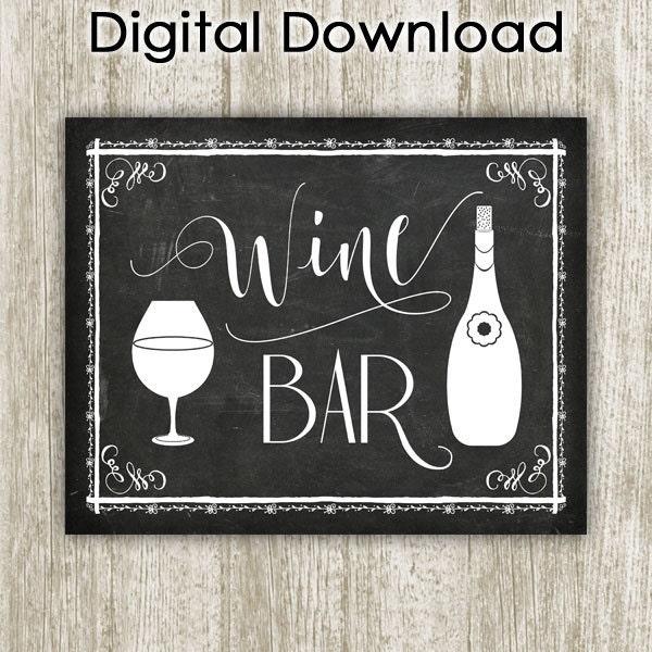 Wine bar printable sign chalkboard bar poster wine for Wine chalkboard art