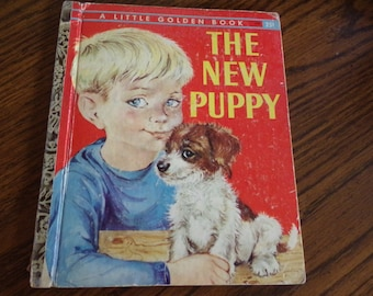 Vintage Little Golden Book - The New Puppy - 1959 - First Edition