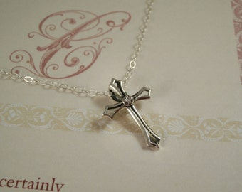 Sterling Silver Cross Necklace, Sterling Silver Cubic Zirconia Cross Necklace, Sterling Silver Medieval Cross Necklace, Easter Necklace,