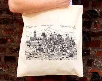 Manchester Skyline Tote Bag - Black and White Design on Natural Canvas Tote Bag