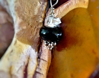 SageAine: Herkimer Diamond and Shungite Sterling Silver Pendant,April Birthstone, Purify, Protect, Reiki Charged, Crystal Healing