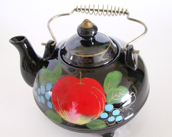 Vintage Redware Footed Teapot, Hand Painted Fruit on Black Glaze, Japan