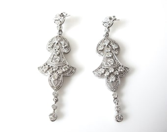 Vintage Jenna Nicole Sterling Silver Pierced Chandelier Dangle Earrings With Swarovski Crystals