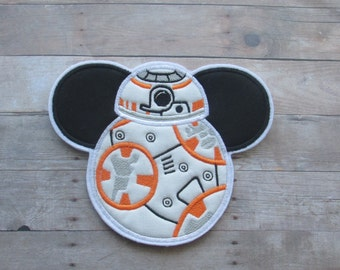 Star Wars ~ Mouse Ears BB8 Patch ~ No Sew ~ Iron On Applique
