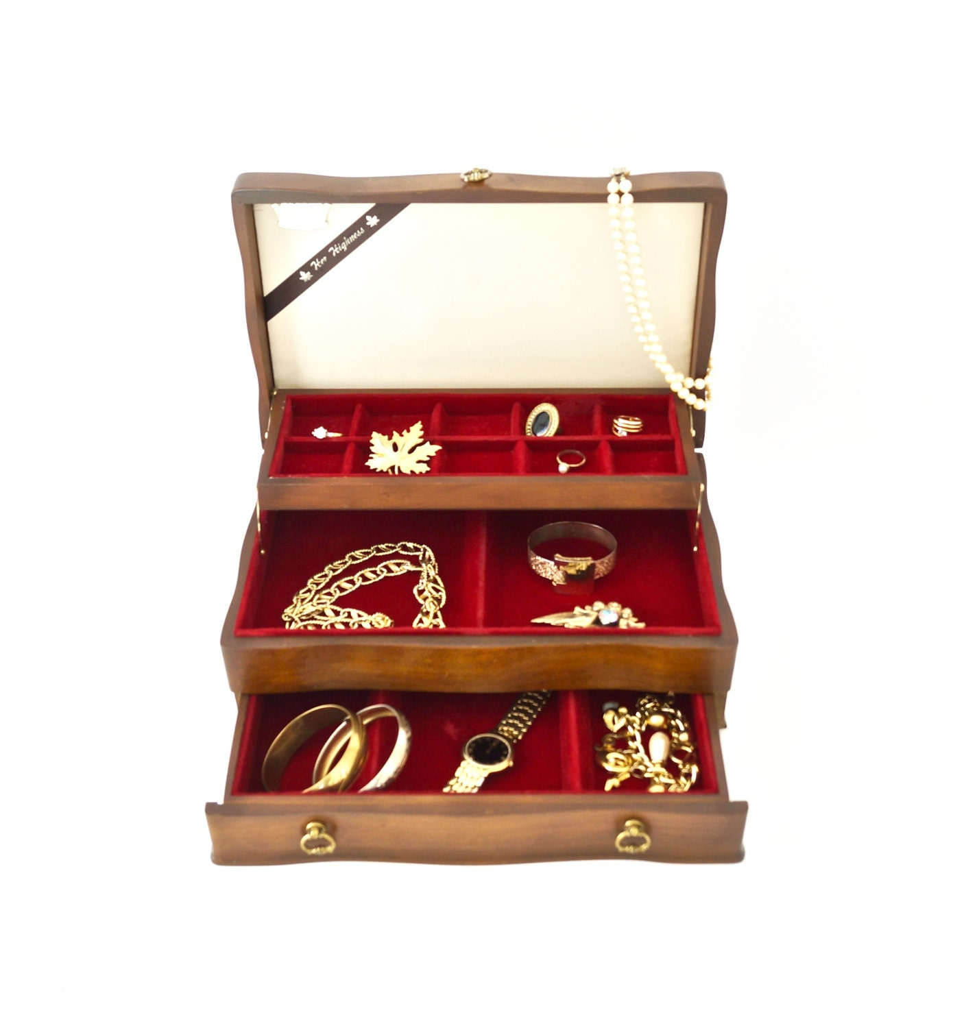 Vtg jewelry box solid wood jewelry chest mid size with red for Solid wood jewelry chest