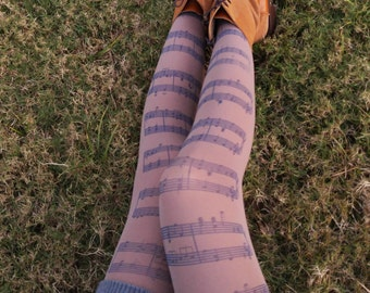 Musical Notes Tights, Music Clef Print Choir, Orchestra Leggings, Opaque Womens Pantyhose, Music gift