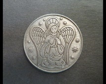 Classic Antique (1980s Vintage Protective Guardian ANGEL & Halo Double-sided Token - Heavenly Ten STARS Spirit Coin) DIVINE Pendant / Charm!