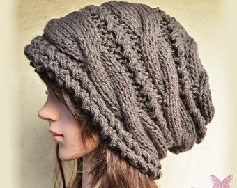 Slouchy cable style beanie hat - DEEP TAUPE (Or Choose Color) Medium Thickness - womens chunky - accessories - baggy slouch