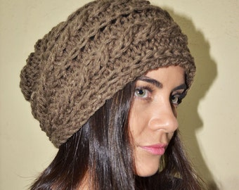 Slouchy cable patterned beanie - MOSSY OAK (Or Choose Color) - womens teen girls - accessories - vegan friendly - gift