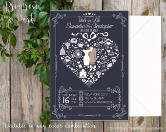 Save the Date Invitation // Uique Invitation // Vintage Style Invitation // Printable or Digital File