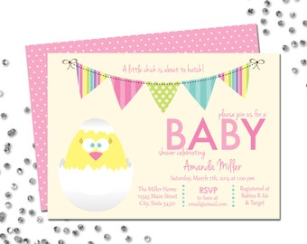Little Chick Baby Shower Invitation - About to Hatch - Easter Baby Shower - Multi Color - BACKSIDE INCLUDED - DIY - Printable