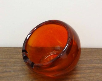 Mid Century Viking Orange Glass Round Orb Ashtray Catch all