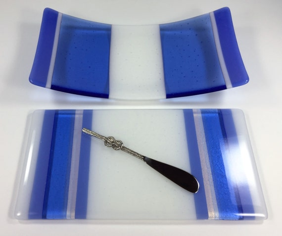 Serving Dish and Platter Set - Fused Glass Serving Tray - Fused Glass Dish - Sushi Tray - Dining & Serving