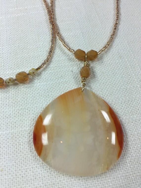 Carnelian Agate Pendant Necklace - Long Beaded Necklace - Long Pendant Necklace