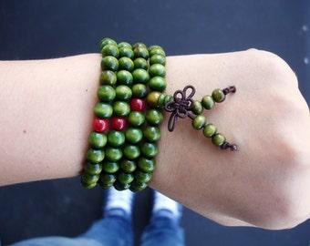 Buddhist Bracelet, Mala Bracelet, Wood Mala, 108 Mala Beads, Mala Necklace, Green Mala, 8 MM Mala, Yoga Bracelet, Wood Mala Bracelet