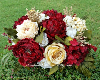 Table Centerpiece,Table Decoration,Fall Centerpiece,Burgundy Centerpiece,Fall Wreaths,Wreath for Fall,Centerpiece for Thanksgiving,Gift