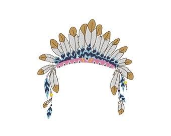 Feather Headdress Embroidery Machine Design