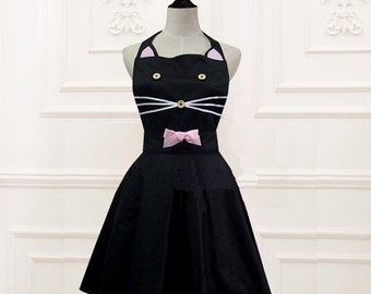 Beautiful Handmade full lady apron dress  for kitchen cooking  cat Accessories