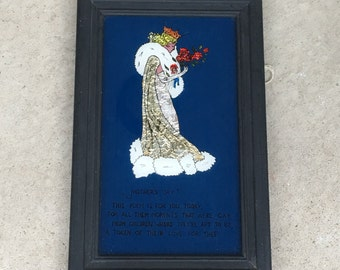 Old Vintage 1930's Mother's Day Queen Reverse Painted On Glass Foil Motto Print L1016C45