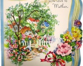 Lovely Vintage Happy Birthday For Mother Featuring English Country Town Setting With Cottages and English Gardens of Beautiful Flowers