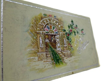 1915 Antique A Merry Christmas Edwardian Postcard With Inviting Cathedral Opening It's Doors To All for the Season