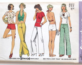 Vintage 1970s Women's Halter Top, Hip Hugger Pants, Raglan T Shirt, and Shorts Sewing Pattern Size 16 Simplicity 6354 Bust 38