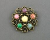 Vintage SARAH COVENTRY 'Festival' Antiqued Goldtone Muti Color Brooch (1975). SarahCov Brooch. Signed Designer Pin