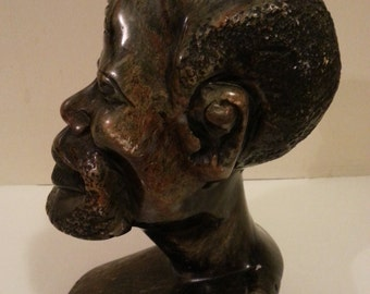 Stone Head Statue of African Man