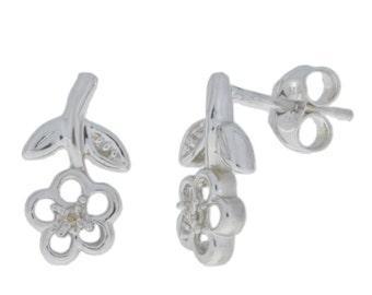 Diamond Flower Stud Earrings .925 Sterling Silver