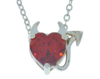 Garnet & Diamond Devil Heart Pendant .925 Sterling Silver