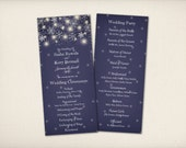 "Wedding Program Card, Midnight Blue Starry Night, Modern Vintage, Romantic Snow Flakes, 4""x9"" Double Sided DIY Printable (P11)"
