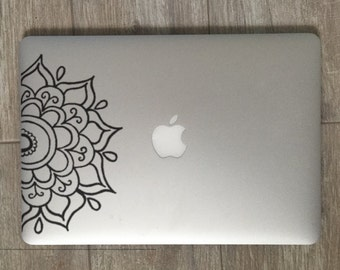 Half Mandala        , Laptop Stickers, Laptop Decal, Macbook Decal, Car Decal, Vinyl Decal