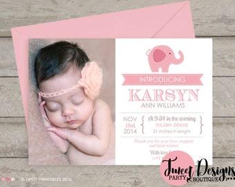 ELEPHANT BIRTH ANNOUNCEMENT, Elephant Baby Thank you Card, Girl Elephant Birth Announcement, Girl Baby Announcement, Girl Birth Announcement
