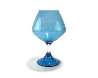 Capri Blue Art Glass Vase * Stemed Snifter Shape * Azure Blue