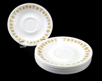 Corelle Dinnerware * Butterfly Gold  * Set of 8 Saucers * Pyrex Compatible