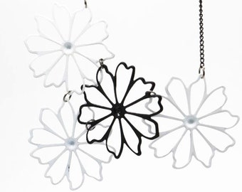 6 pcs of metal filigree flower blossom pendant hand made 40mm flower-finished chain