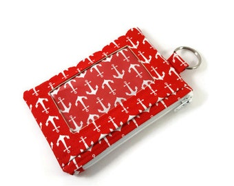 Red and White Anchors ID Wallet / Keychain ID Wallet / ID Holder