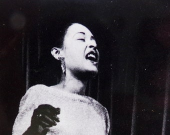 Vintage Billie Holliday Lady Sings the Blues Photo Art Card, Music Jazz Legends, 1950s 50s, Jazz Art,