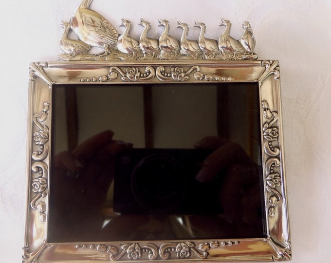 Baby Photo Frame Picture Frame Silver Mother Duck with Ducklings Family Photo Frame