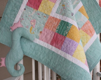 Custom Aqua Mermaids Baby Girl Quilt with Stuffed Seahorse Toy - Made to Order