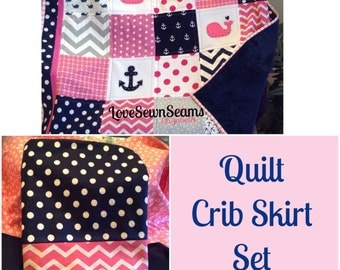 Nautical Quilt and Crib Skirt Set in Hot Pink & Navy!