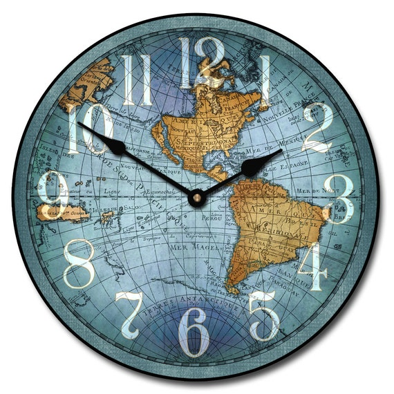 Vincenzo Blue World Map Wall Clock