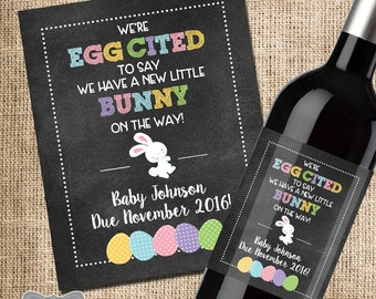 Easter Pregnancy Announcement, Pregnancy Reveal, Pregnancy Reveal Wine Label, Easter Baby Announcement, Easter Pregnancy Reveal, Baby Reveal