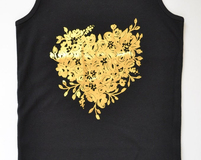 Black Women's Cotton Tank Top Gold Foil Heart Floral by The First Snow