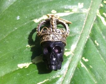 Skull King , Earrings , Brass Crown ,Tribal , buffalo horn  , Handcarved . tribal , hippie , punk , boho